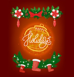 card happy new year christmas shining ball vector image