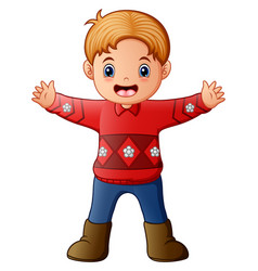 Cartoon of boy wearing a red sweater vector