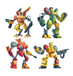 Cartoon robot guards futuristic battle vector
