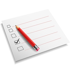 checklist with pencil white background vector image