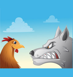 Chicken wolf face-off vector