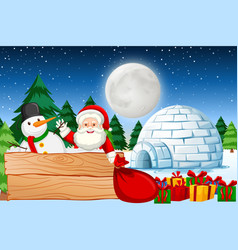 christmas night with santa vector image