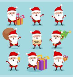 christmas santa claus cute character holiday set vector image