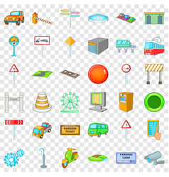 city gps icons set cartoon style vector image