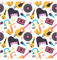 colorful music instrument seamless pattern vector image