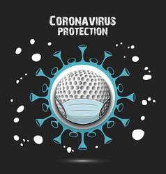Coronavirus sign and golf ball with mask vector