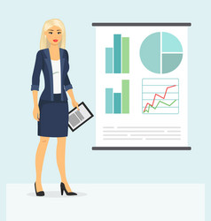 cute businesswoman showing something vector image