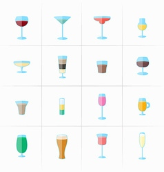 Drink glass icons vector