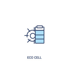 Eco cell concept 2 colored icon simple line vector