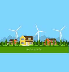 Eco village concept vector