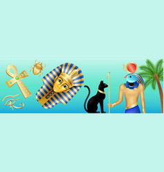 egypt symbols banner cartoon poster with pharaoh vector image