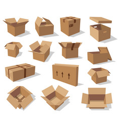 empty carton boxes cardboard packaging vector image