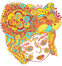 fairy tale surreal girl colorful psychedelic vector image