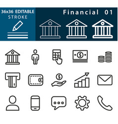 financial - line icon set editable stroke vector image