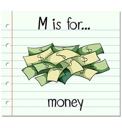 Flashcard letter M is for money vector