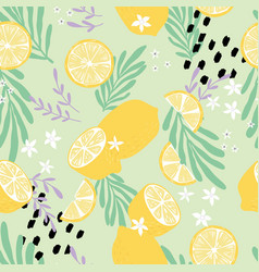 fruit seamless pattern lemons with tropical leaves vector image