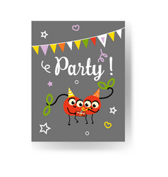 Fruit summer party banner with two red ripe vector