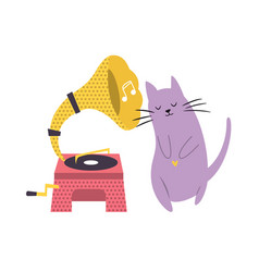 funny cat playing listening to phonograph vector image