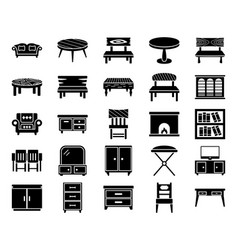 Furniture glyph icons vector