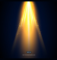 Golden light shines from above the stage vector