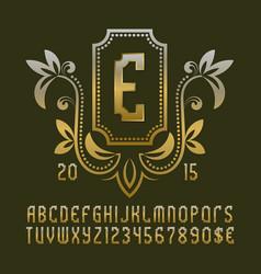 golden patterned monogram template in beautiful vector image