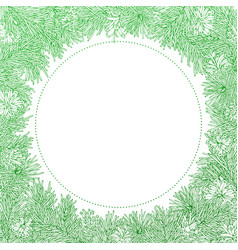 Green round frame on white background vector
