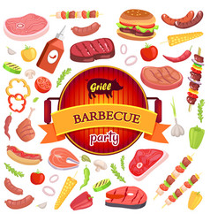 Grill barbecue party and icons vector
