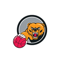 Grizzly Bear Angry Head Basketball Cartoon vector image