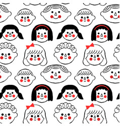 happy children face cartoon seamless pattern vector image