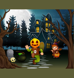 happy halloween with pumpkin mask and witch vector image