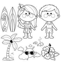hawaii vacation children vector image
