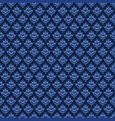 Indigo blue graphic leaf damask seamless pattern vector