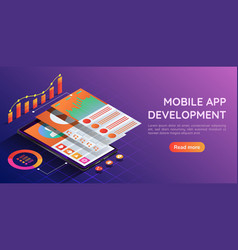 isometric smartphone with mobile application user vector image