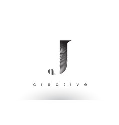 J logo design with multiple lines and black and vector