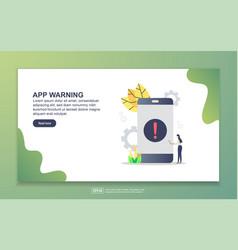 landing page template app warning modern flat vector image