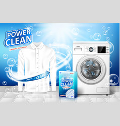 Laundry detergent ad stain remover banner design vector