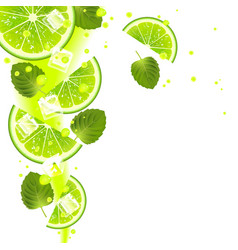 lime with mint leaves and splashes of juice vector image