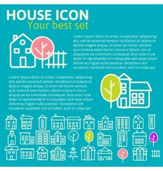 Linear set house icons vector