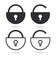 lock outline icon and black lock icon isolated on vector image