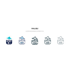 Malibu icon in different style two colored and vector