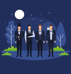 Men wearing tuxedo vector