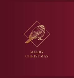 Merry christmas abstract classy label sign vector