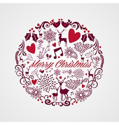 Merry Christmas circle shape full of elements vector