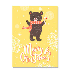 Merry christmas greeting card with bear red scarf vector