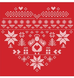 Nordic pattern in hearts shape with an angel red vector image