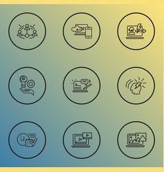 Optimization icons line style set with time vector