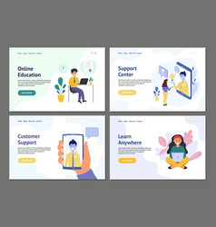 people online banner set landing page templates vector image
