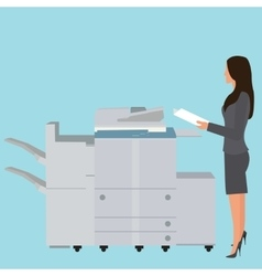 Photo copy copier machine office woman standing vector