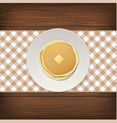 Realistic pancake with a piece of butter on a vector
