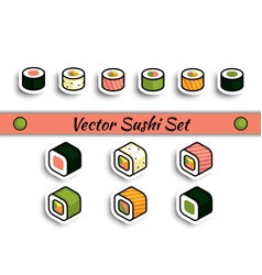 Rolls sushi set isolated vector